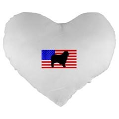 Australian Shepherd Silo Usa Flag Large 19  Premium Heart Shape Cushions