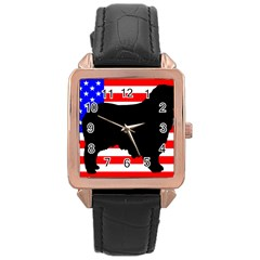 Australian Shepherd Silo Usa Flag Rose Gold Leather Watch