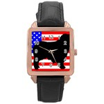 Australian Shepherd Silo Usa Flag Rose Gold Leather Watch  Front