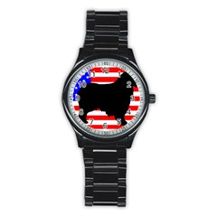 Australian Shepherd Silo Usa Flag Stainless Steel Round Watch