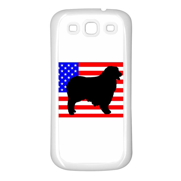 Australian Shepherd Silo Usa Flag Samsung Galaxy S3 Back Case (White)