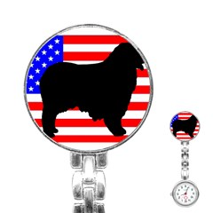 Australian Shepherd Silo Usa Flag Stainless Steel Nurses Watch