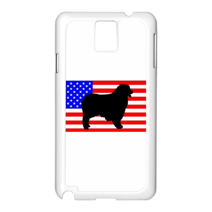 Australian Shepherd Silo Usa Flag Samsung Galaxy Note 3 N9005 Case (White)