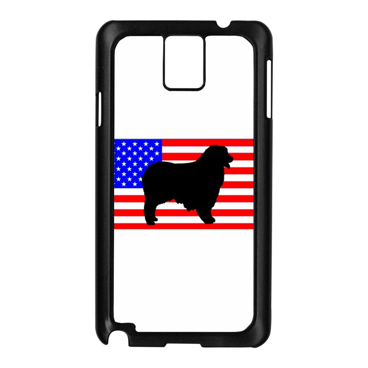 Australian Shepherd Silo Usa Flag Samsung Galaxy Note 3 N9005 Case (Black)