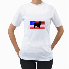 Australian Shepherd Silo Usa Flag Women s T Shirt (white)