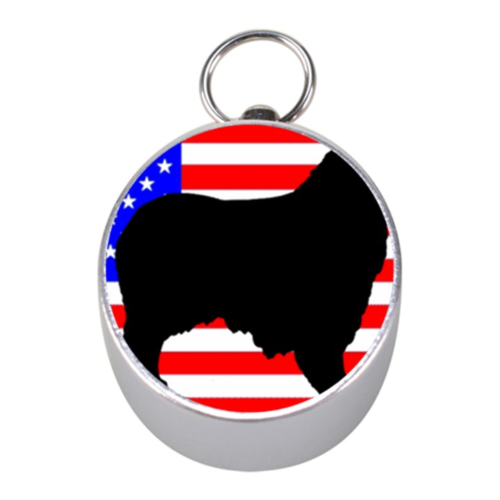 Australian Shepherd Silo Usa Flag Mini Silver Compasses