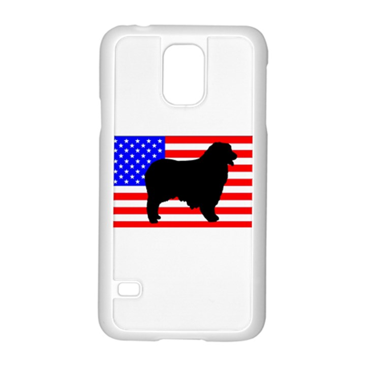 Australian Shepherd Silo Usa Flag Samsung Galaxy S5 Case (White)