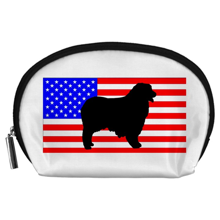 Australian Shepherd Silo Usa Flag Accessory Pouches (Large)