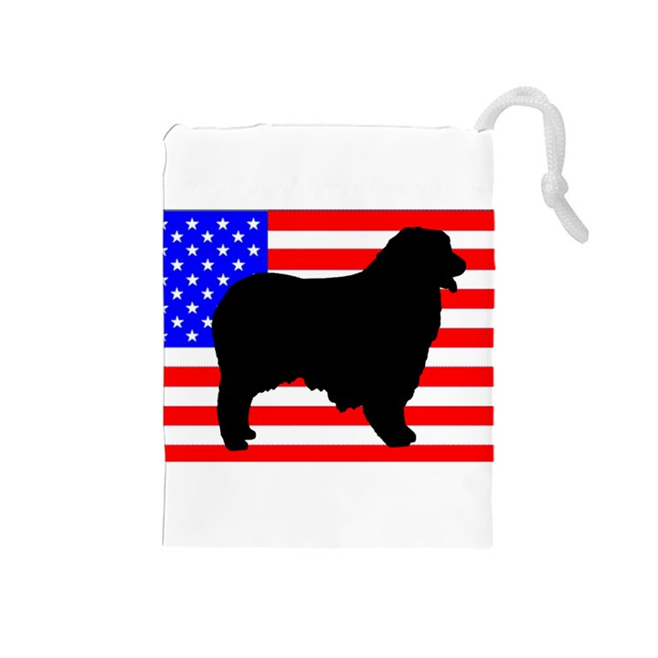 Australian Shepherd Silo Usa Flag Drawstring Pouches (Medium)