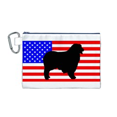 Australian Shepherd Silo Usa Flag Canvas Cosmetic Bag (M)