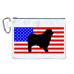 Australian Shepherd Silo Usa Flag Canvas Cosmetic Bag (L)