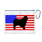 Australian Shepherd Silo Usa Flag Canvas Cosmetic Bag (L) Back