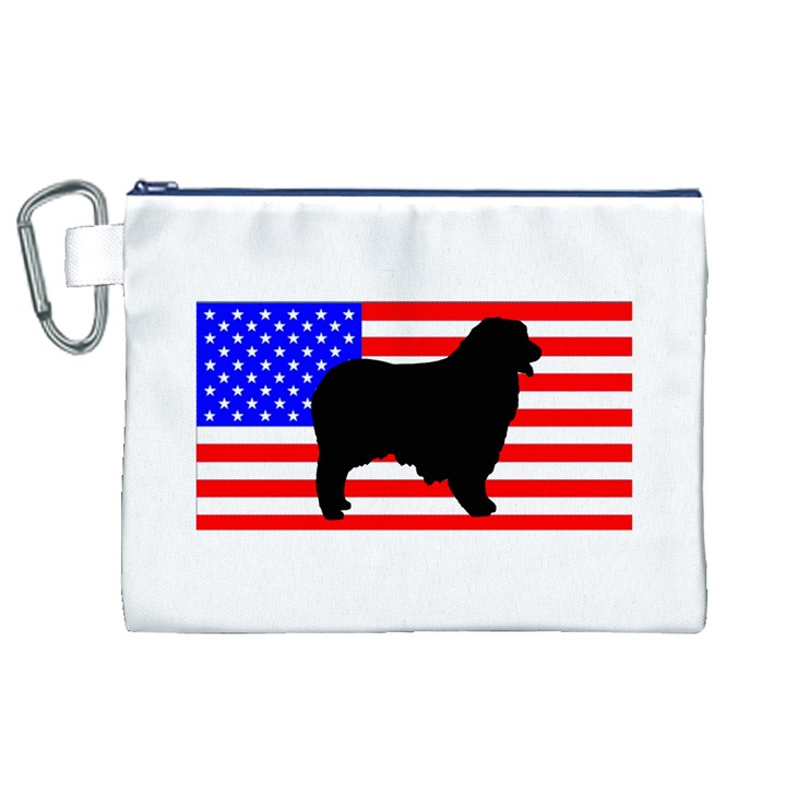 Australian Shepherd Silo Usa Flag Canvas Cosmetic Bag (XL)