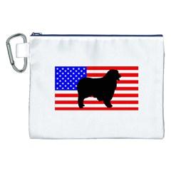 Australian Shepherd Silo Usa Flag Canvas Cosmetic Bag (XXL)