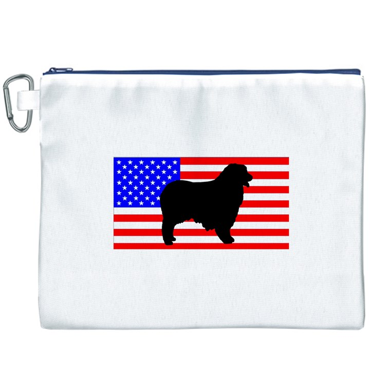Australian Shepherd Silo Usa Flag Canvas Cosmetic Bag (XXXL)