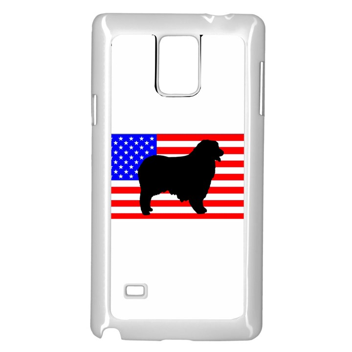 Australian Shepherd Silo Usa Flag Samsung Galaxy Note 4 Case (White)