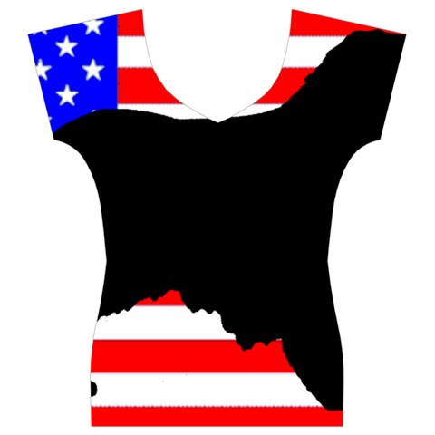 Australian Shepherd Silo Usa Flag Women s V-Neck Cap Sleeve Top