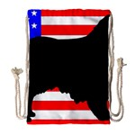 Australian Shepherd Silo Usa Flag Drawstring Bag (Large) Front