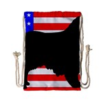 Australian Shepherd Silo Usa Flag Drawstring Bag (Small) Front