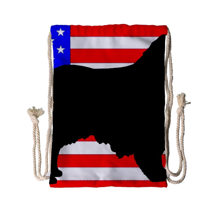 Australian Shepherd Silo Usa Flag Drawstring Bag (Small)