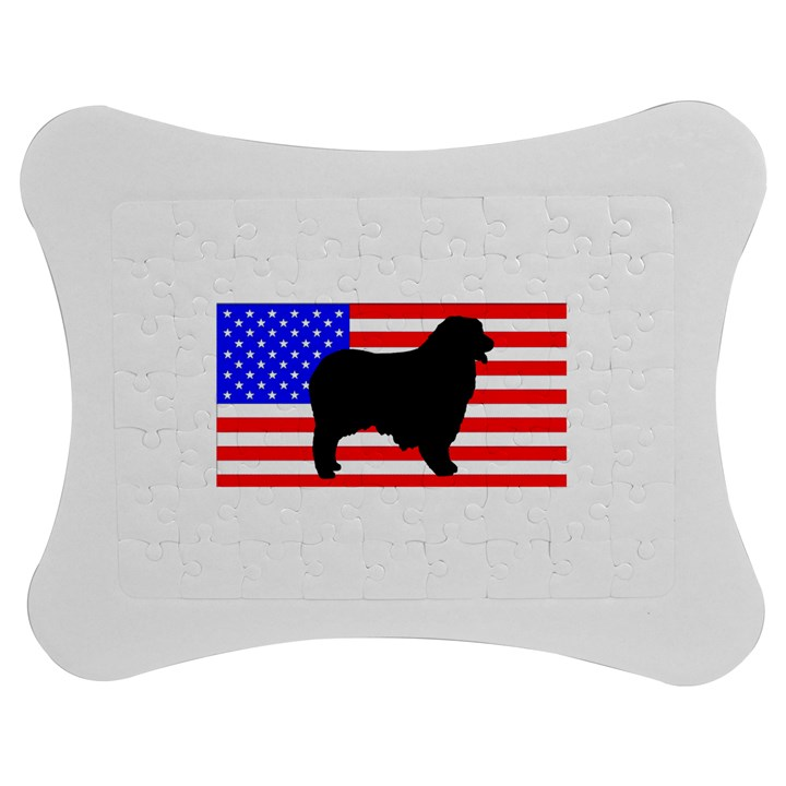 Australian Shepherd Silo Usa Flag Jigsaw Puzzle Photo Stand (Bow)