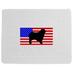 Australian Shepherd Silo Usa Flag Jigsaw Puzzle Photo Stand (Rectangular)