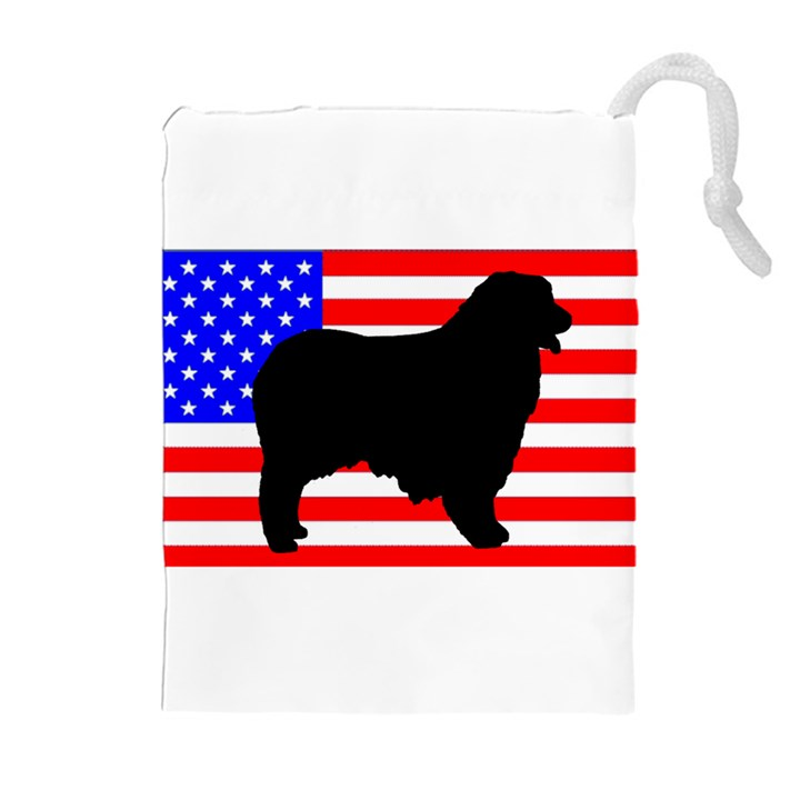 Australian Shepherd Silo Usa Flag Drawstring Pouches (Extra Large)