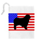 Australian Shepherd Silo Usa Flag Drawstring Pouches (Extra Large) Back