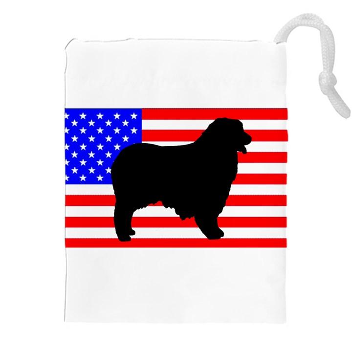 Australian Shepherd Silo Usa Flag Drawstring Pouches (XXL)