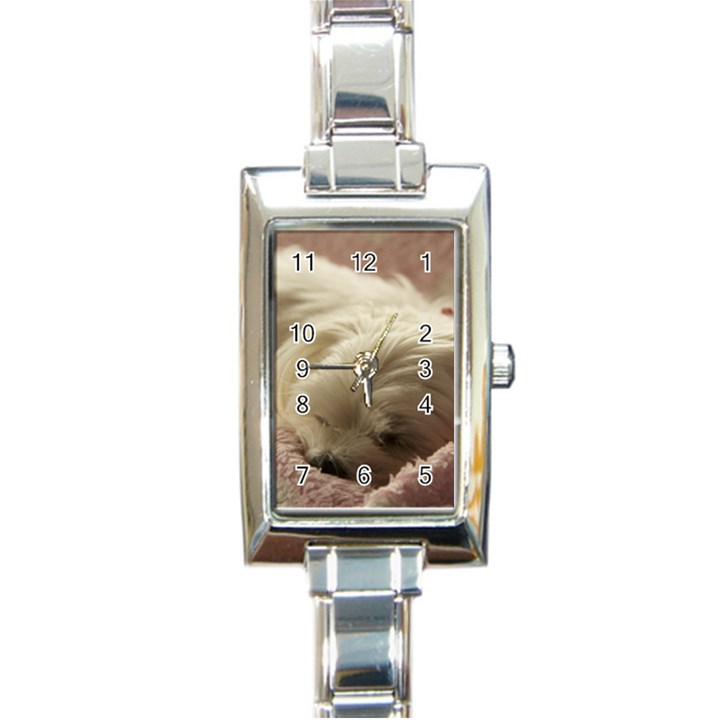 Maltese Sleeping Rectangle Italian Charm Watch
