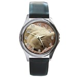 Maltese Sleeping Round Metal Watch Front