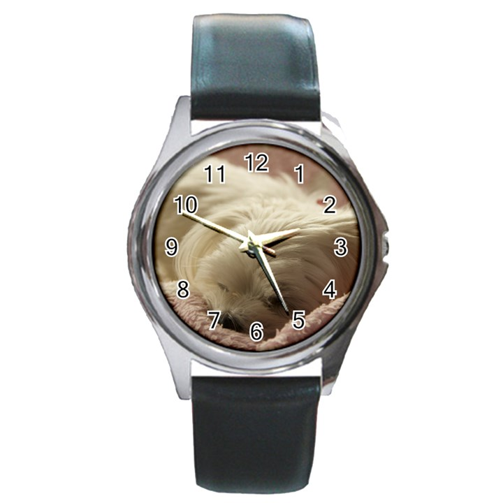 Maltese Sleeping Round Metal Watch