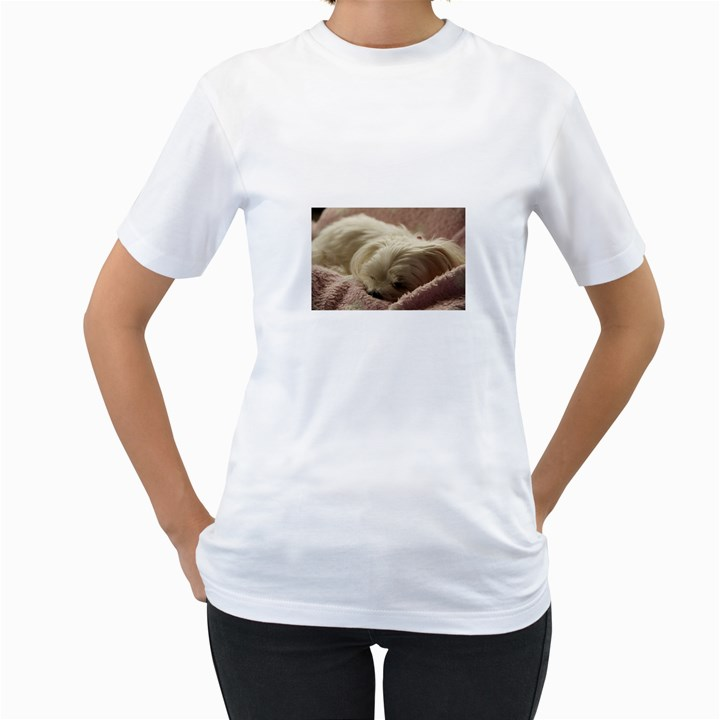 Maltese Sleeping Women s T-Shirt (White) (Two Sided)