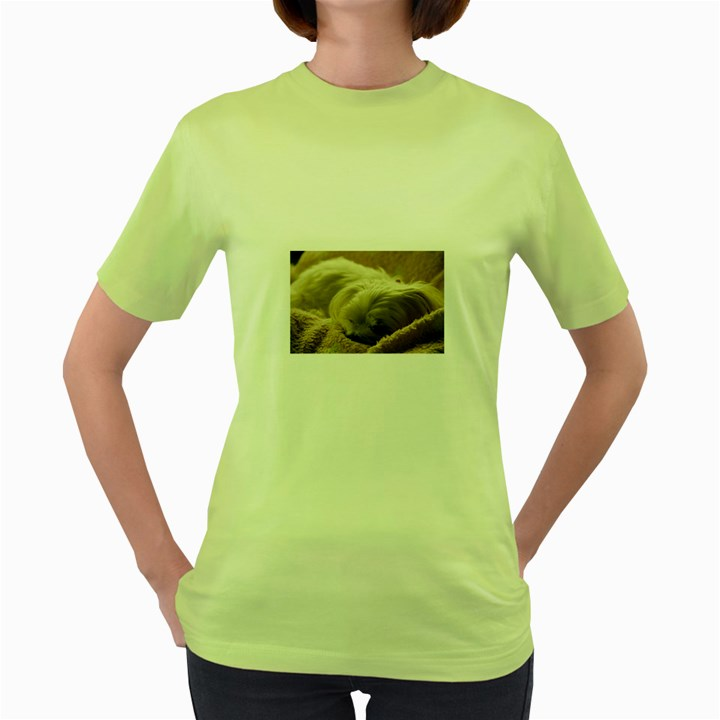 Maltese Sleeping Women s Green T-Shirt