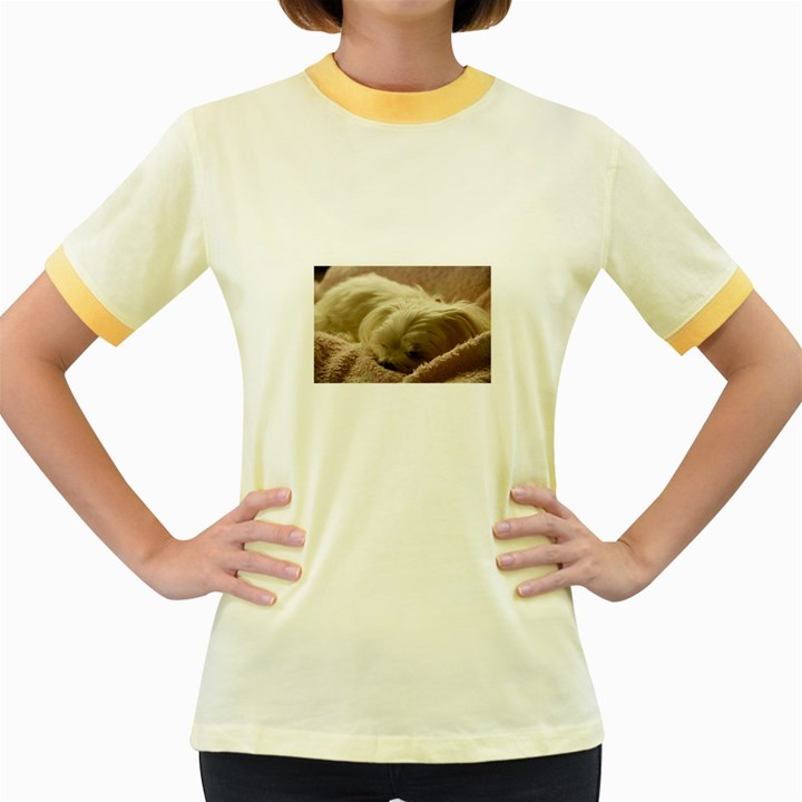 Maltese Sleeping Women s Fitted Ringer T-Shirts