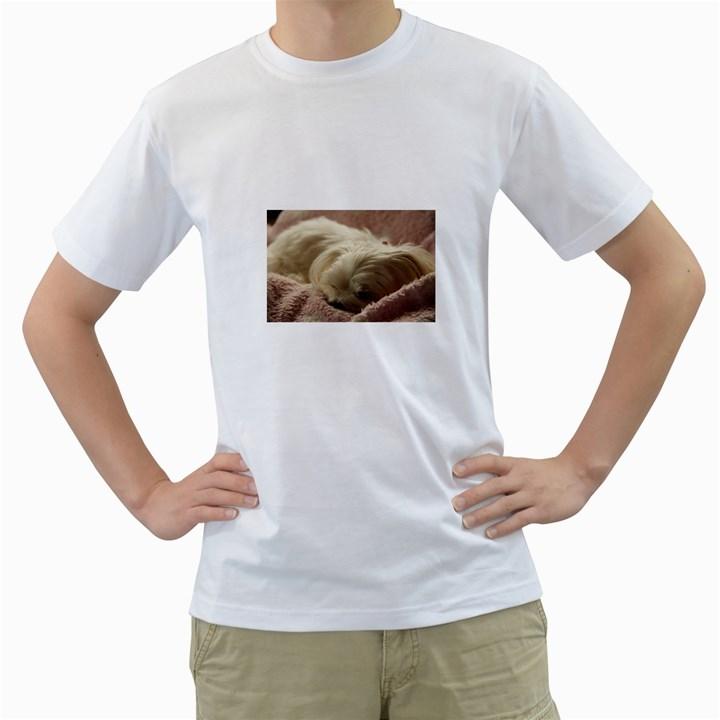 Maltese Sleeping Men s T-Shirt (White) (Two Sided)