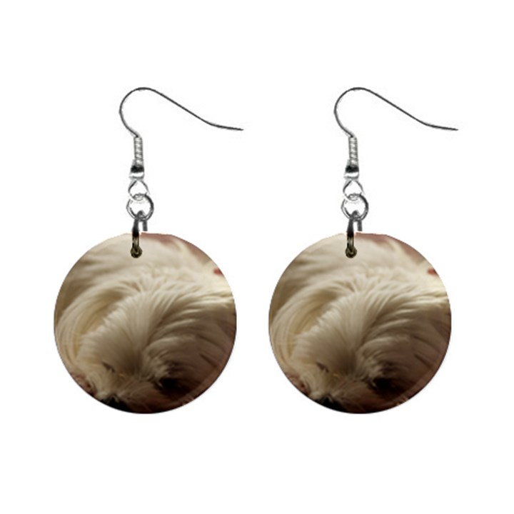 Maltese Sleeping Mini Button Earrings