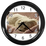 Maltese Sleeping Wall Clocks (Black) Front