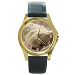 Maltese Sleeping Round Gold Metal Watch Front