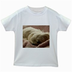 Maltese Sleeping Kids White T-Shirts