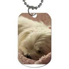 Maltese Sleeping Dog Tag (Two Sides)