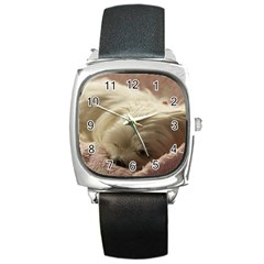Maltese Sleeping Square Metal Watch