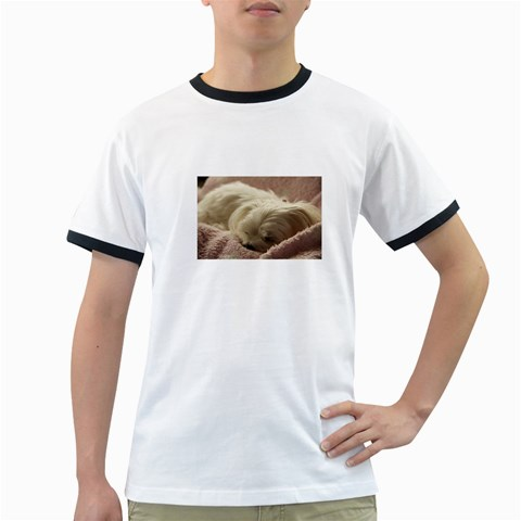 Maltese Sleeping Ringer T-Shirts