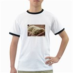 Maltese Sleeping Ringer T-Shirts Front