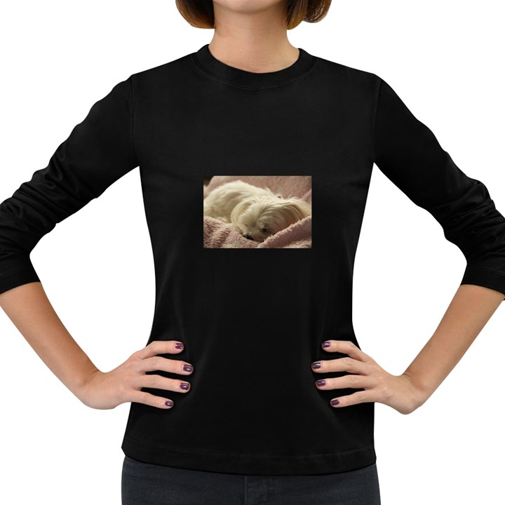 Maltese Sleeping Women s Long Sleeve Dark T-Shirts
