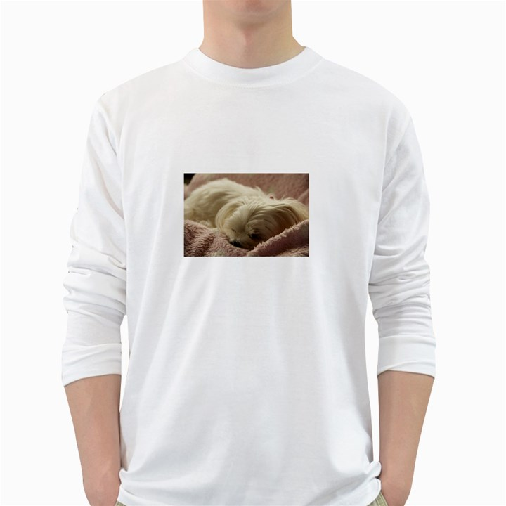 Maltese Sleeping White Long Sleeve T-Shirts