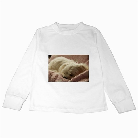 Maltese Sleeping Kids Long Sleeve T-Shirts