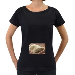 Maltese Sleeping Women s Loose-Fit T-Shirt (Black)