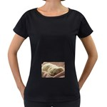 Maltese Sleeping Women s Loose-Fit T-Shirt (Black) Front