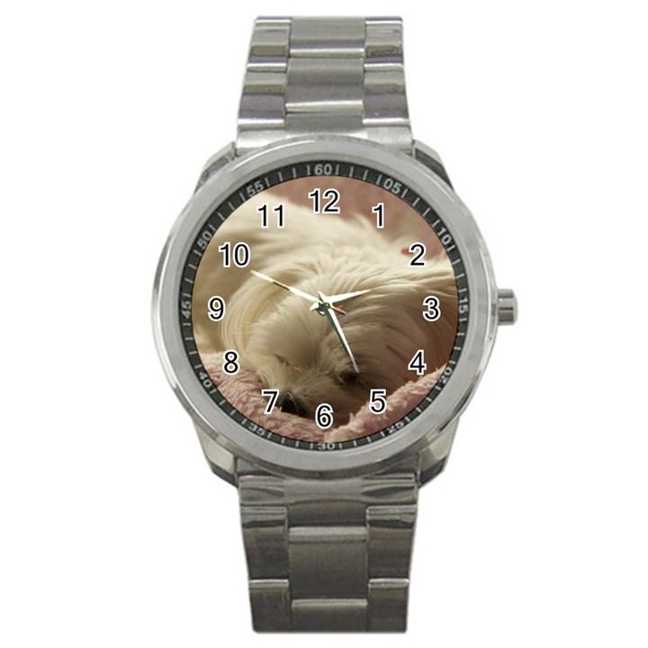 Maltese Sleeping Sport Metal Watch